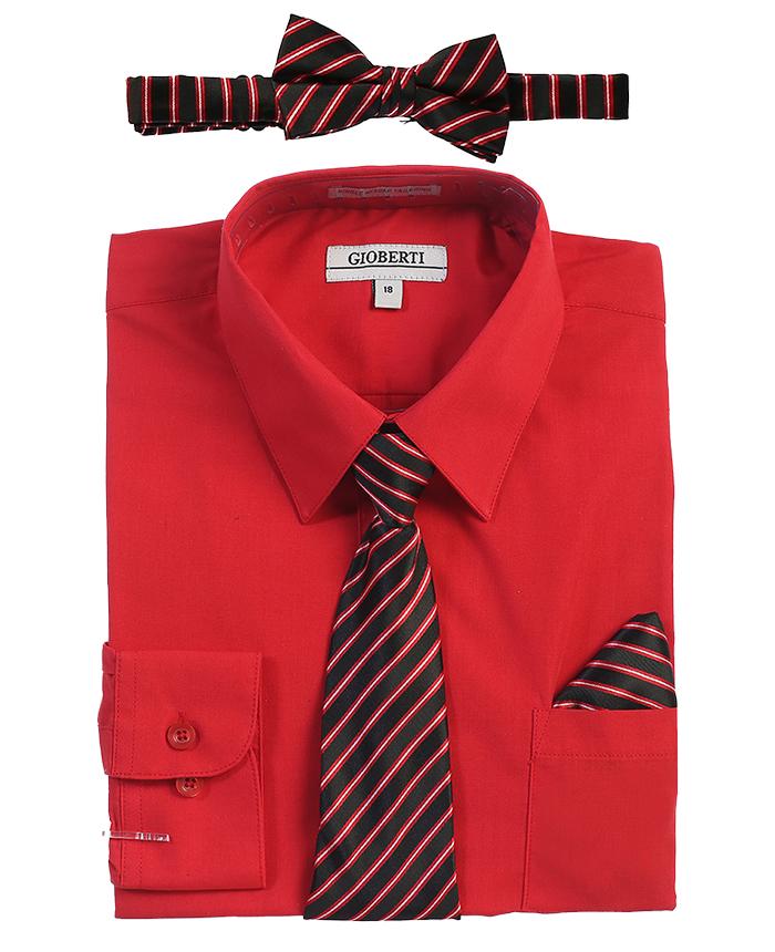 Gioberti Boy's Long Sleeve Dress Shirt + Stripe Zippered Tie Set