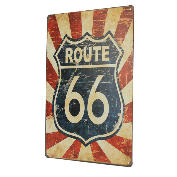 Vintage Antique Metal Tin Sign Route 66 Poster Home Pub Bar Home Wall Decor 7.8'' x 11.8''