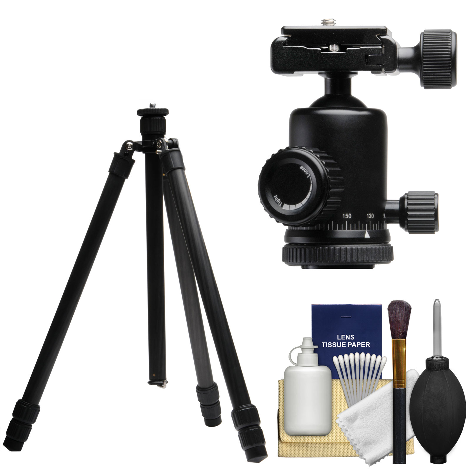 "Terra Firma T-CF300 56"" Carbon Fiber 3-Section Tripod Legs & Case with Pro Metal Ball Head + Cleaning Kit"