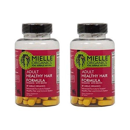 Mielle Organics adultes en bonne santé Cheveux Vitamines Formule avec 60 comprimés Biotin « Paquet de 2 »