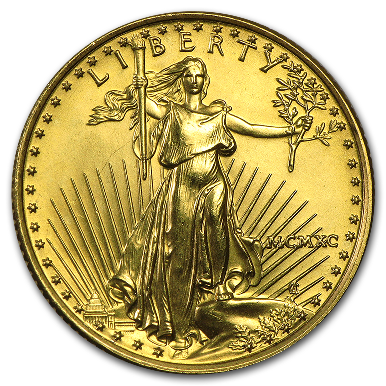 1990 1/4 oz Gold American Eagle BU (MCMXC)