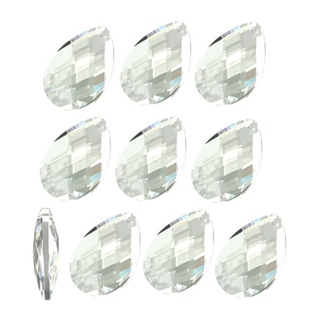 10Pcs Clear Faux Crystal Faceted Teardrop Shape Beads for DIY Light Accessories