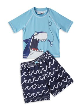 Wippette Baby Toddler Boy Shark Rashguard & Swim Trunks, 2pc Set