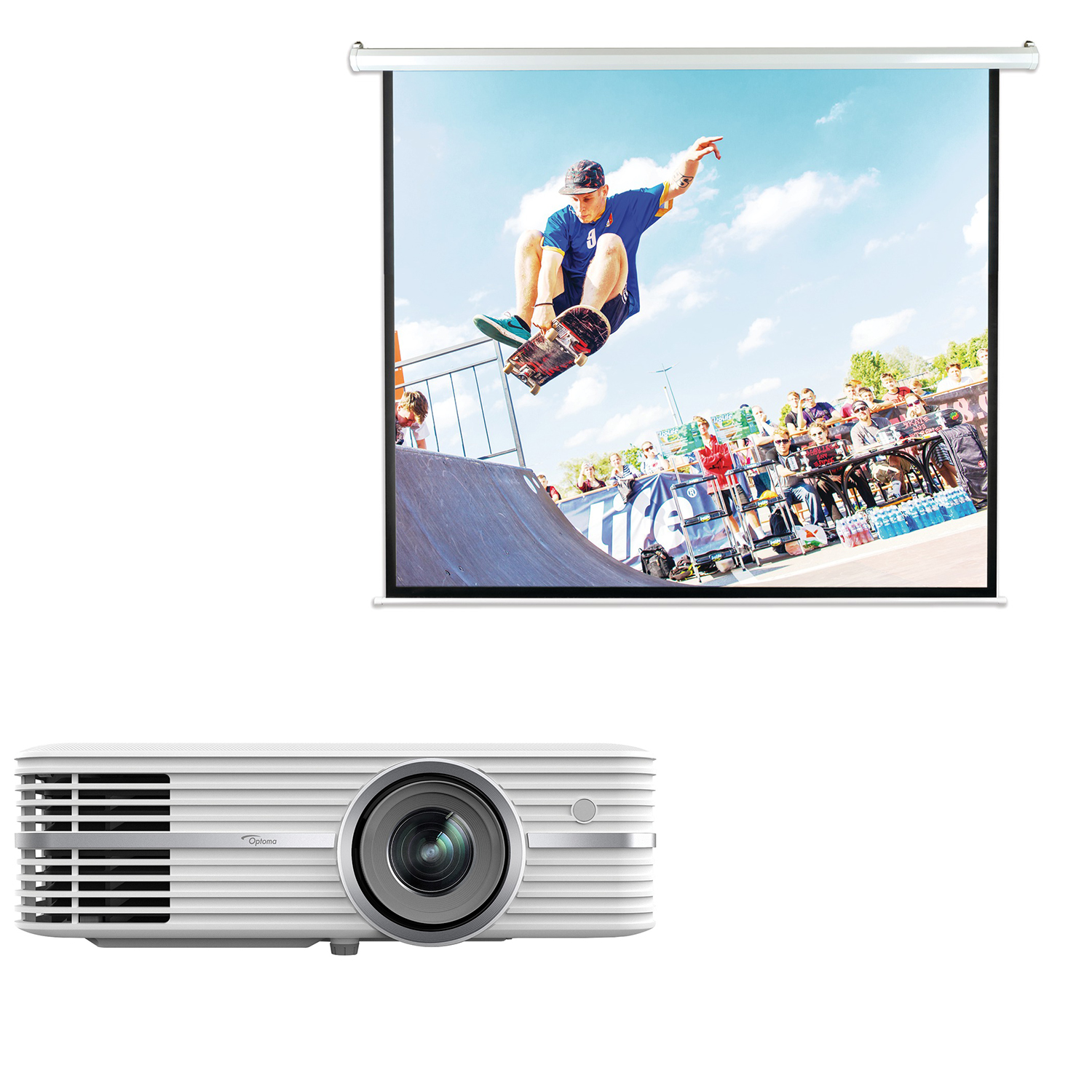 Optoma UHD50 4K UHD Home Theater Projector & Pyle PRJELMT106 Motorized Projector Screen 100""