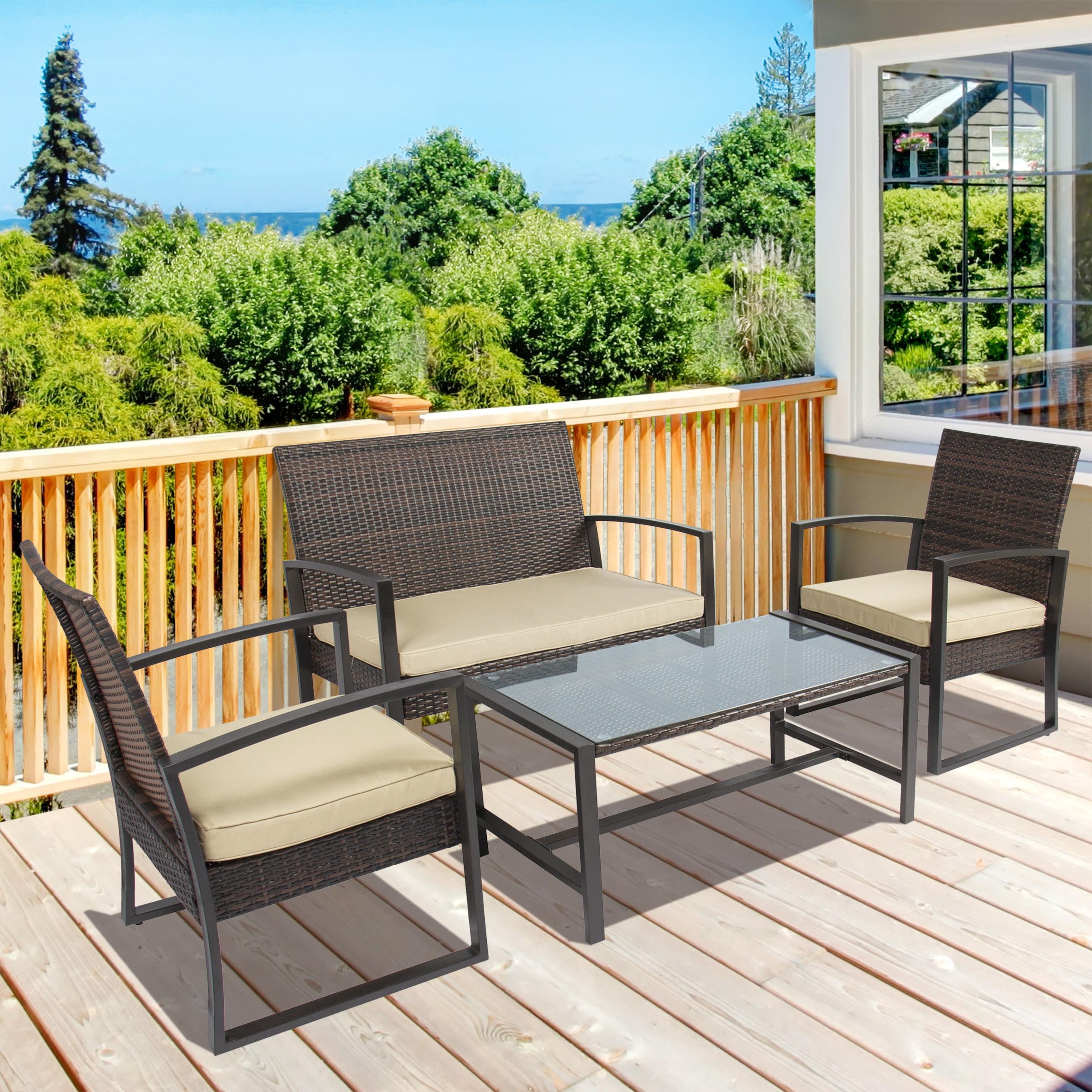 4PC Patio Furniture Set Cushioned Outdoor Wicker Rattan Garden Lawn
