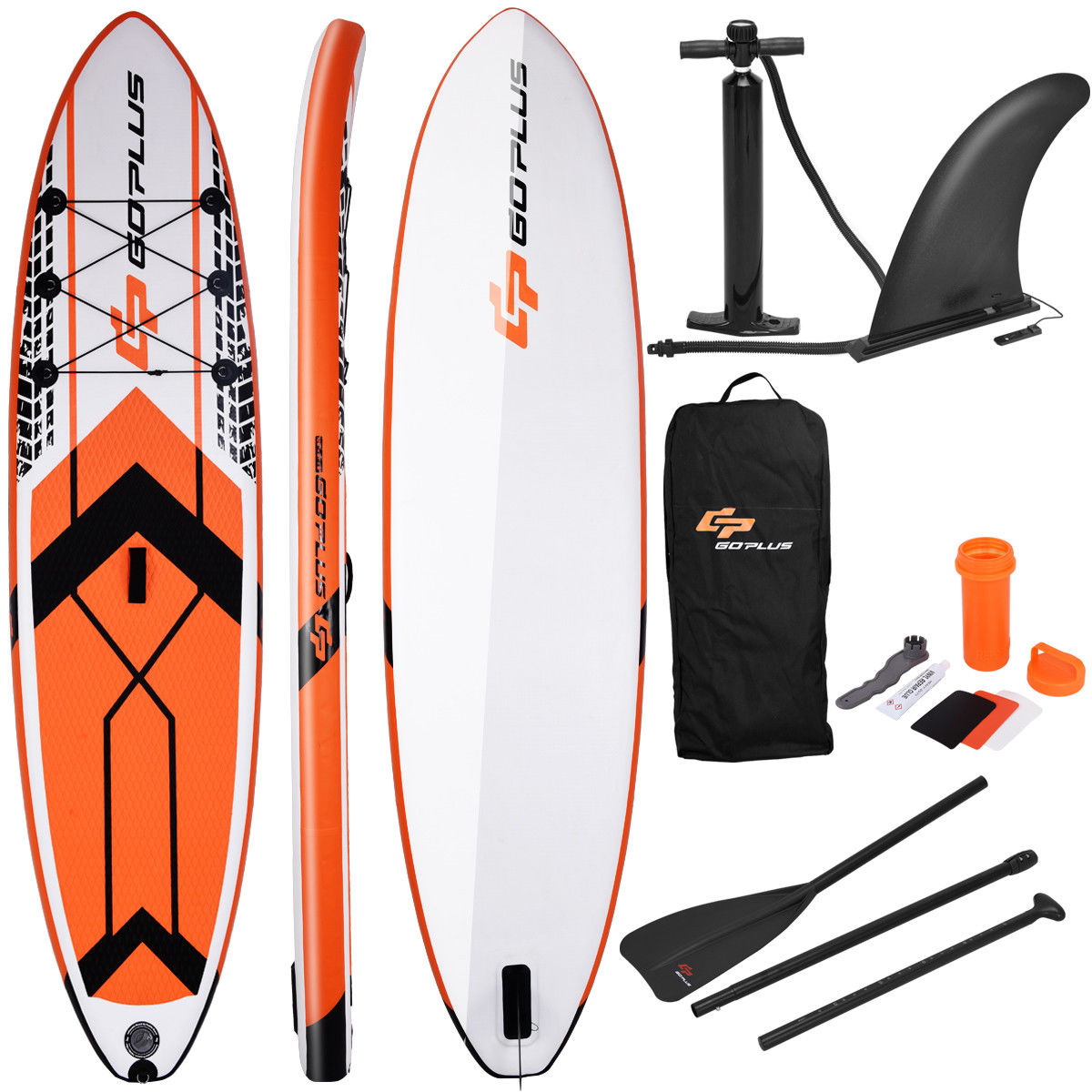 Costway Goplus 10.5' Inflatable Stand Up Paddle Board SUP W  Fin Adjustable Paddle Backpack by Costway