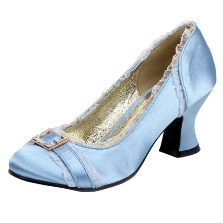 Womens Chunky Heel Pumps Satin Shoes Round Toe Blue Ivory Pink 2 1/2 Inch Heels - 3 Inch Chunky Heels