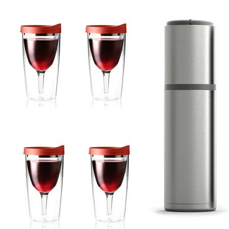 b6ed1ffd8f7 ASOBU Vin Blanc Portable Wine Chiller & 10-Ounce Vino 2 Go (Red), 3 Pack