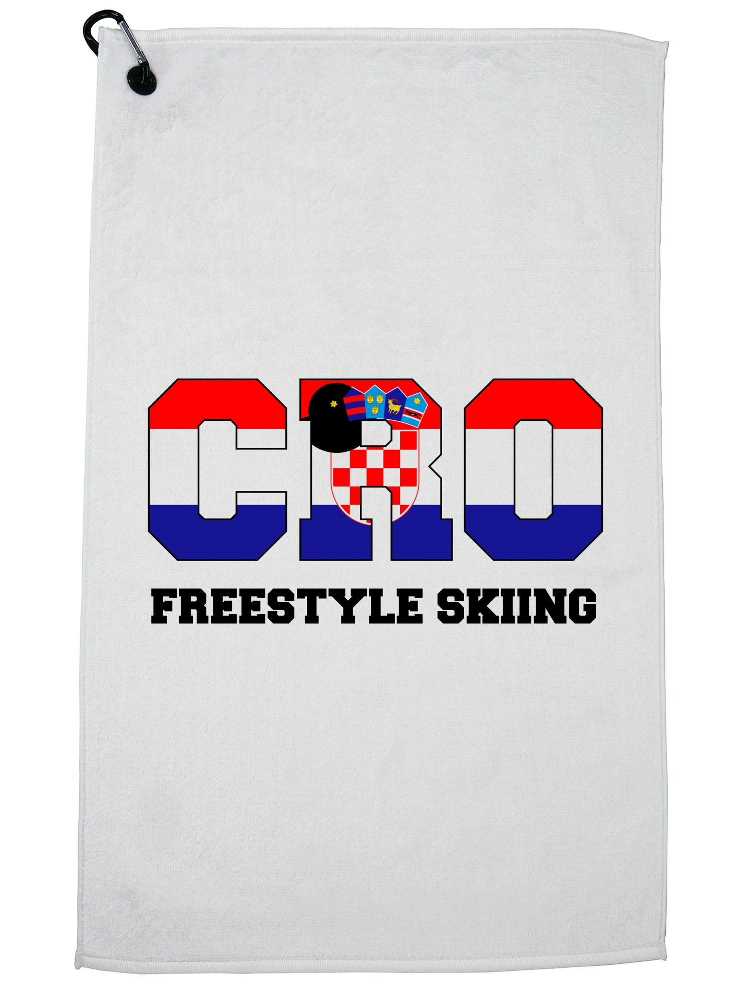 Croatian Freestyle Skiing Winter Olympic CRO Flag Golf Towel with Carabiner Clip by Hollywood Thread