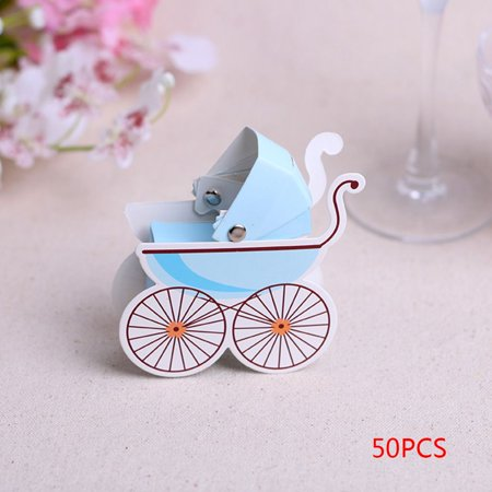 Joyfeel Clearance 50pcs Baby Trolley Shape Paper Candy Box for Kids Birthday Favors Gifts Party Decorative
