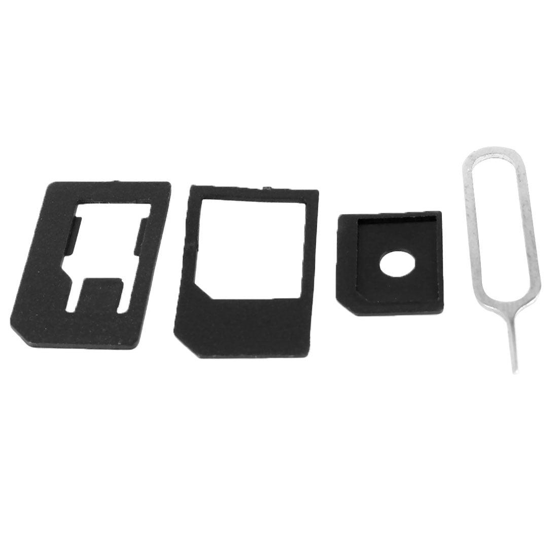 4 in 1 SIM Card Adapter Nano to Micro/ Nano to Full/ Micro to Full w Eject Pin - image 1 de 1