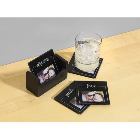 Melannco Set of 4 Photo Coasters With Base-Smile, Dream, Love,