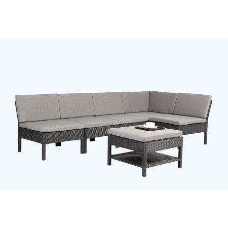 Baner Garden Outdoor Furniture Complete Patio PE Wicker Rattan Garden Corner Sofa Couch Set, Black, 6-Pieces