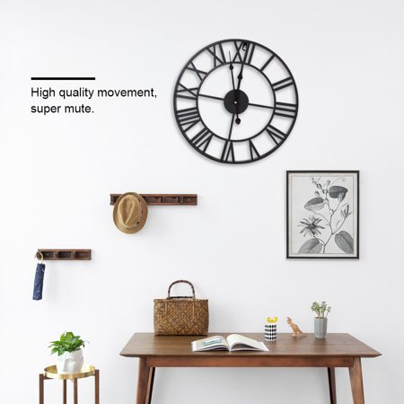 Anauto Antique Clock, Industrial Clock,Classic Metal Round Shaped Antique Industrial Iron Wall Clock Roman Numerals Home Cafe Decor Roman Home Decor
