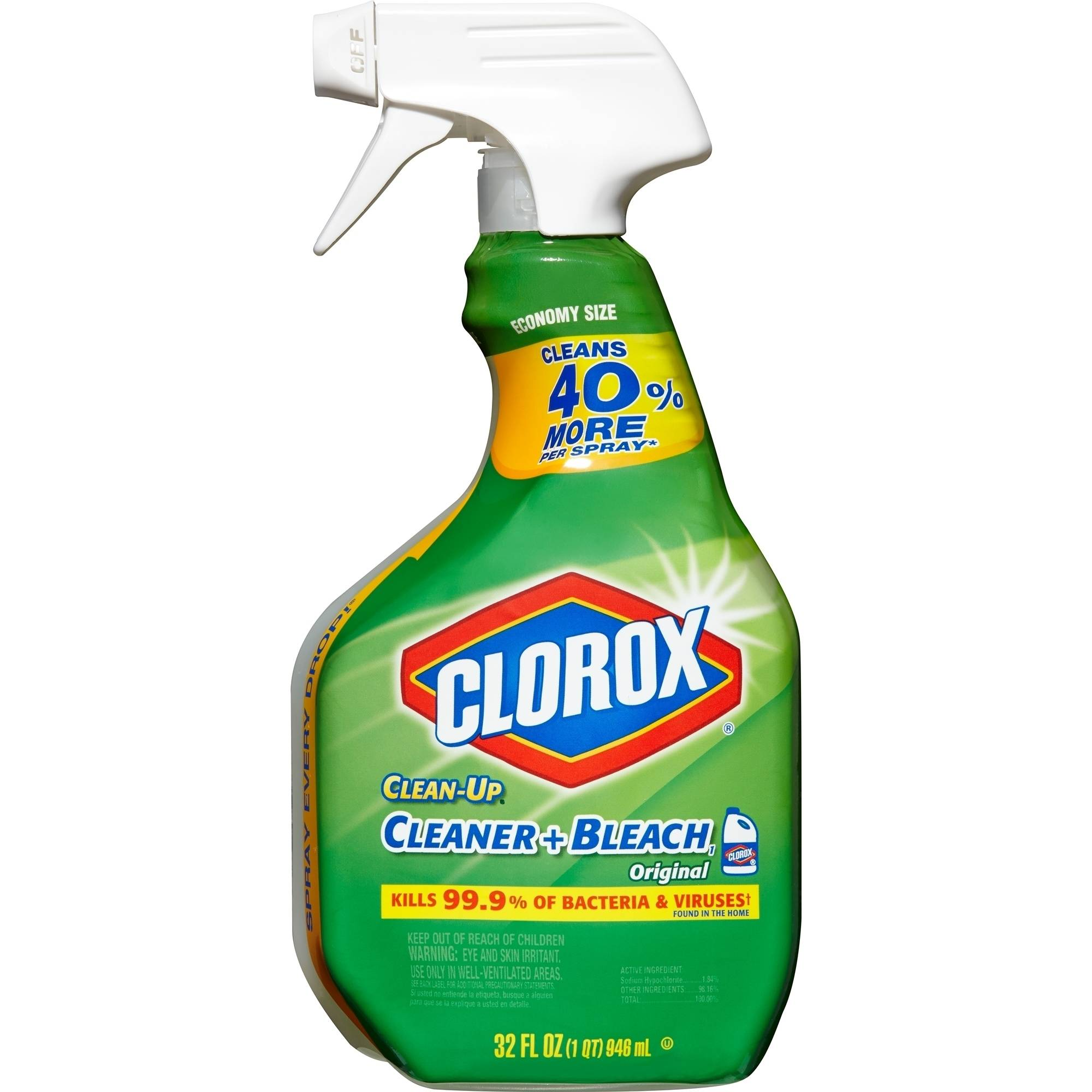 Clorox Clean-Up All Purpose Cleaner with Bleach, Spray Bottle, Original, 32 Ounces
