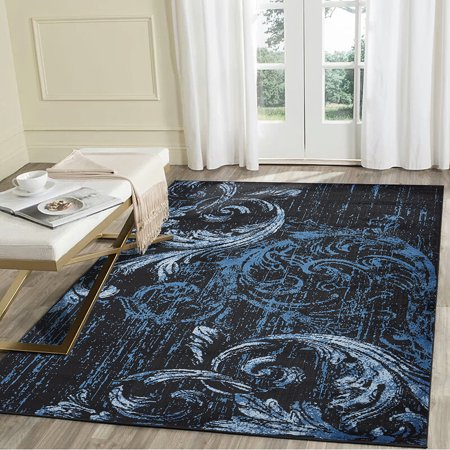 Black Transitional Rug - LR Home Infinity 8x10 Black Blue Swirl Feather Damask Distressed Indoor Transitional Area Rug - 7 ft. 9 in. x 9 ft. 5 in.