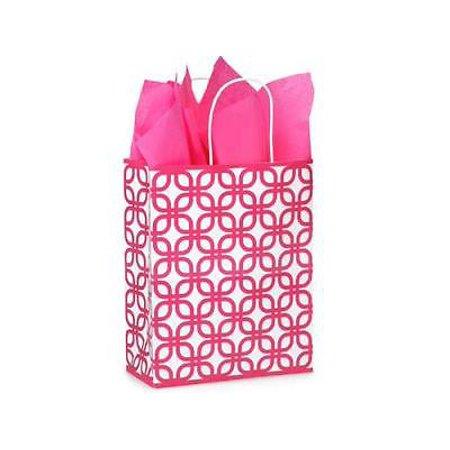 1 Unit Carrier Hot Pink Geo Graphics Paper Bags Bulk 10X5x13  Unit Pack 250