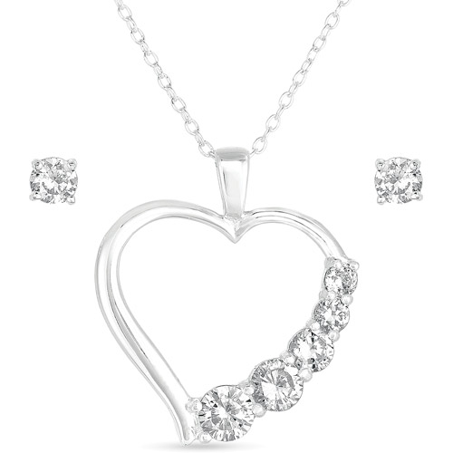 CZ Sterling Silver Stud Earrings and Heart Pendant, 18""