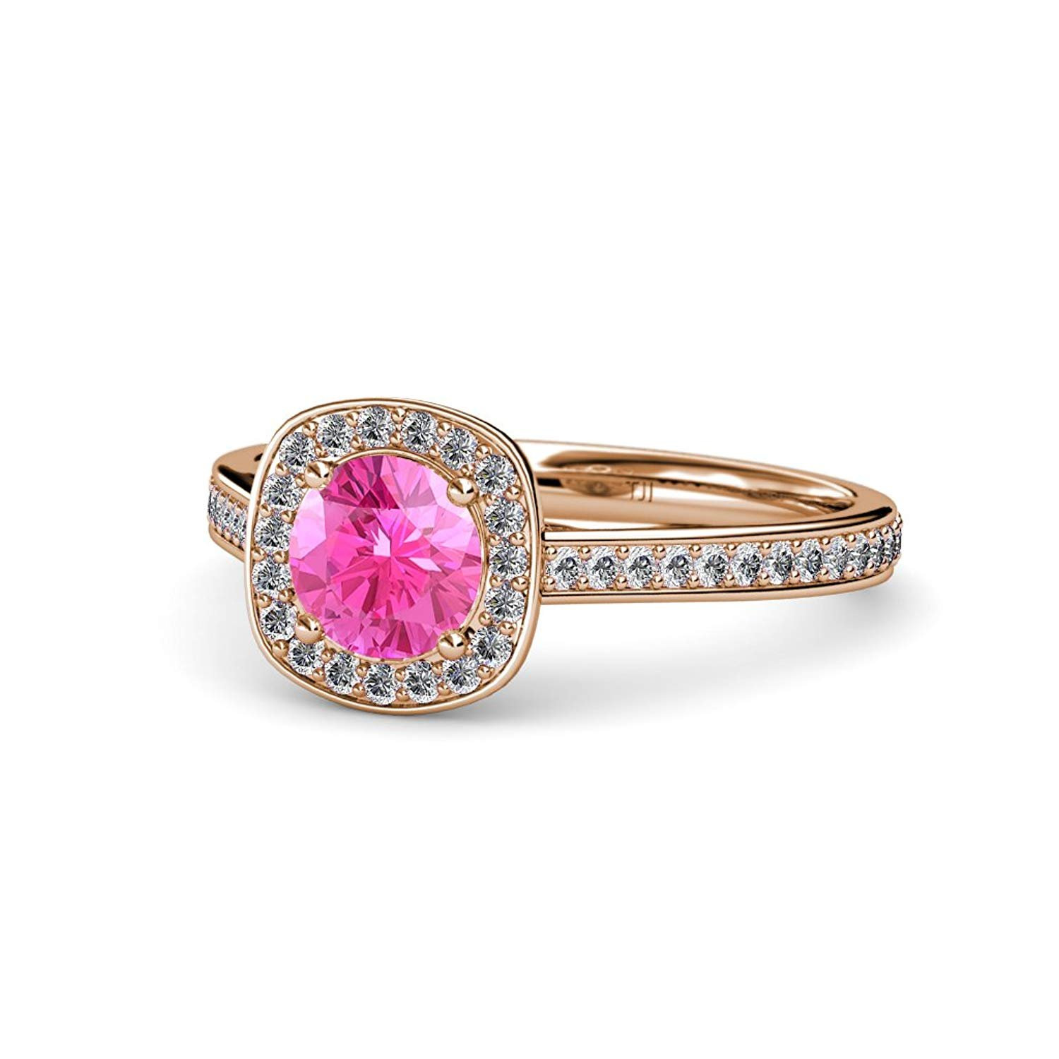 Pink Sapphire and Diamond (SI2-I1, G-H) Halo Engagement Ring 1.15 ct tw in 14K Rose Gold.size 5.0 by TriJewels