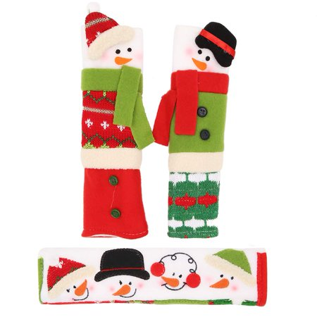 3PCS Snowman Refrigerator Door Handle Cover,Kitchen Appliance Microwave Oven Dishwasher Door Handle Covers Protective Gloves Home Christmas Decor