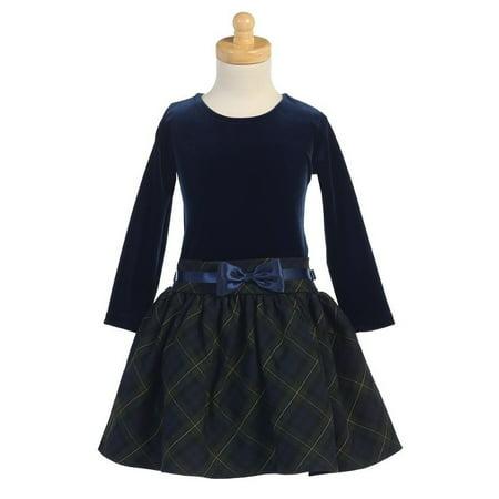 Lito Green Velvet Bodice Plaid Skirt Girls Dress 10 - Green Girl Dresses