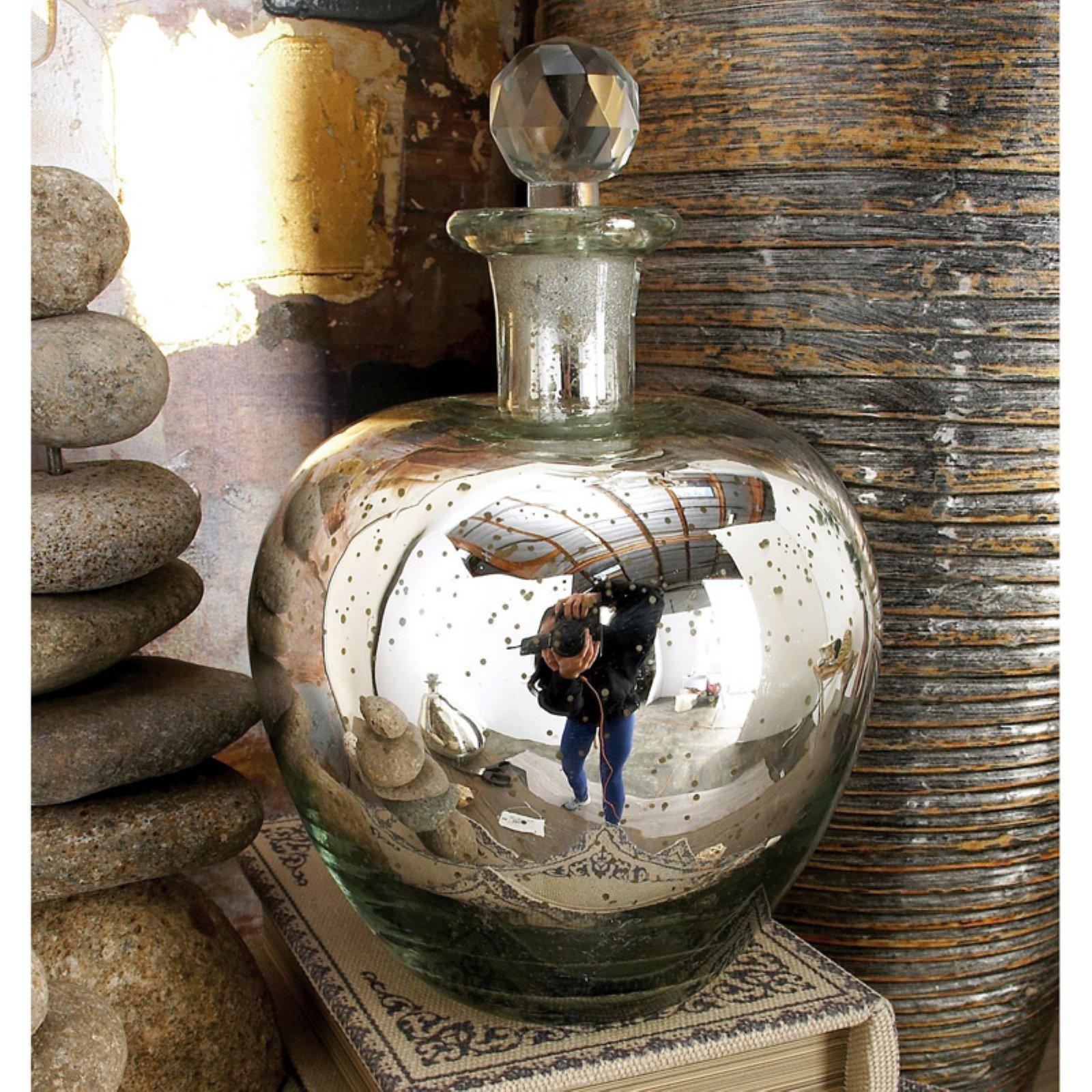 Decmode Glass Stopper Bottle, Silver
