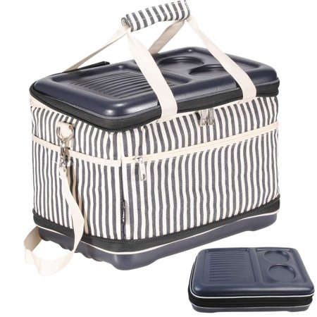 Portable Soft Sided Cooler Bag Collapsible Folding Fully Insulated   30 Can Capacity   Hard Top and Bottom   Waterproof Cotton Canvas Material Perfect for Camping, Fishing, Daily Trip to Beach Fully Recessed Water Cooler