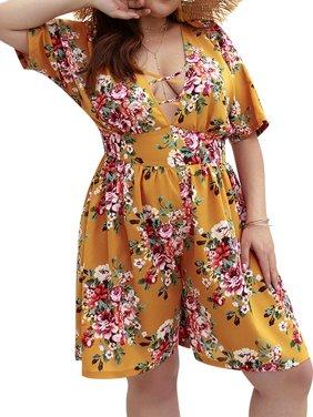 0e91f4a24c799 Product Image AKFashion Women s Plus Short Sleeve Deep V Neck Floral  Jumpsuit