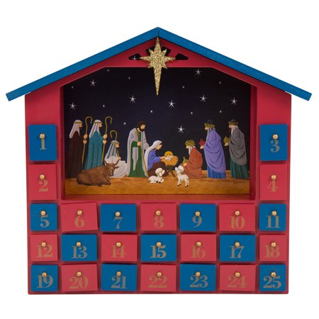 "Glitzhome Countdown to Christmas Wooden House Nativity Advent Calendar, 11.93""H (Christmas Advent Calendar)"