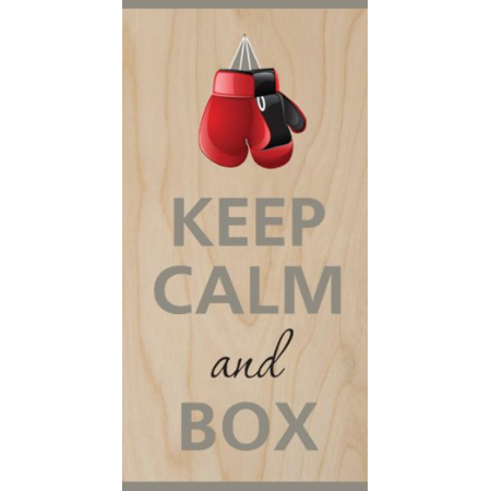 Keep Calm and BOX Boxing Gloves - Plywood Wood Print Poster Wall