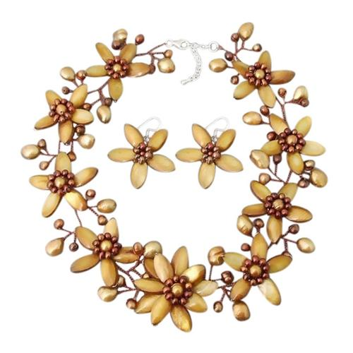 Aeravida Handmade Modish Gold Lily Mother of Pearl Freshwater Pearl Floral Jewelry Set (Thailand) by Overstock