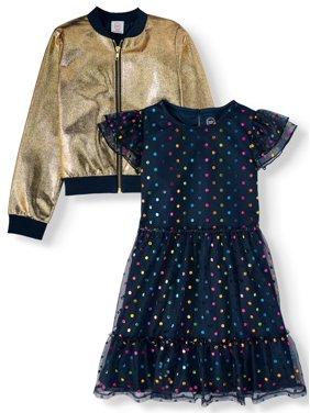 Wonder Nation Dress and Metallic Bomber, 2-Piece Set (Little Girls, Big Girls & Plus)