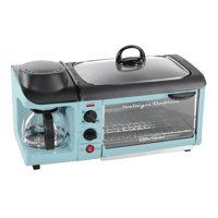 Nostalgia BST3AQ Retro 3-in-1 Family Size Electric Breakfast Station, Coffeemaker, Griddle, Toaster Oven - Aqua