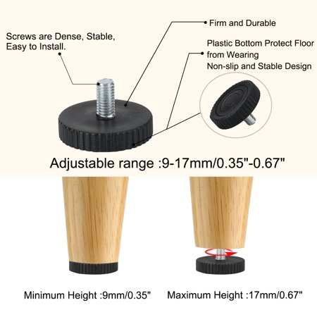 M8 x 15 x 40mm Leveling Feet Adjustable Leveler for House Cabinet Leg 4pcs - image 4 of 7