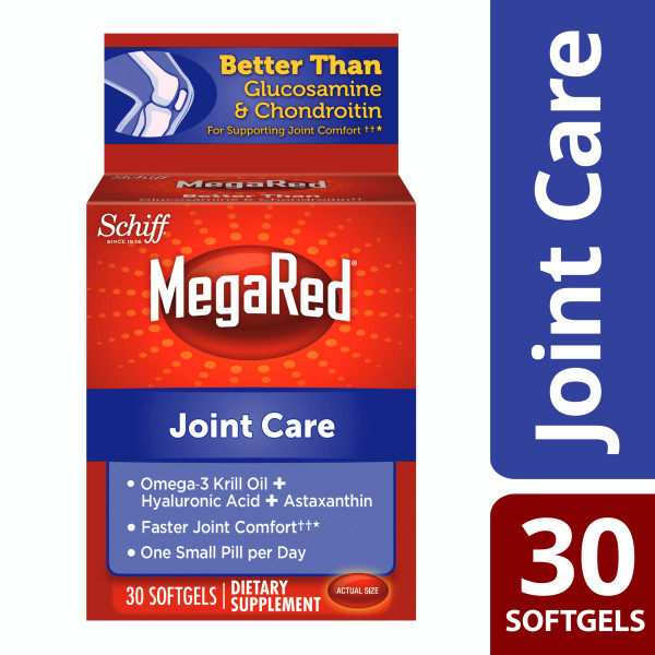 MegaRed Joint Care Omega-3 Krill Oil with Hyaluronic Acid + Astaxanthin Softgels, 30 Ct
