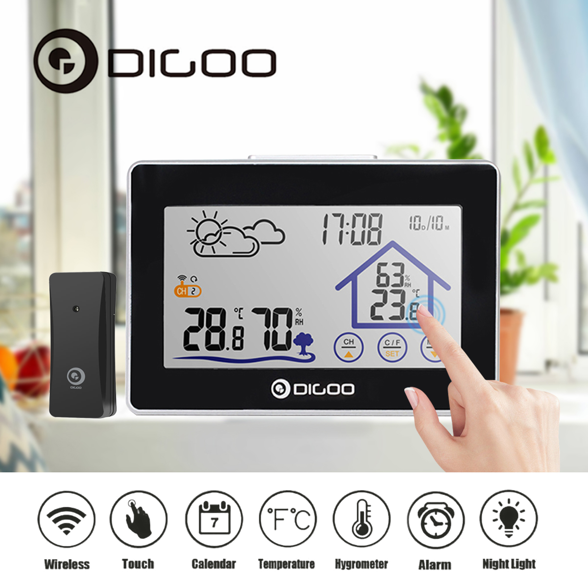 Digoo Touch Screen Wireless Weather Forecast Station Back-Light Time Date Display Humidity Temperature Meter Monitor Thermometer Hygrometer Clock