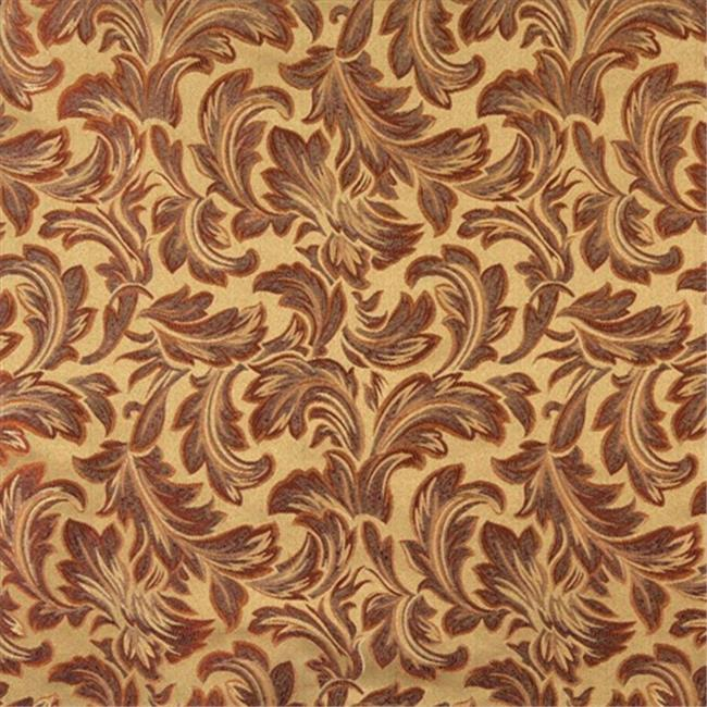 Designer Fabrics F573 54 inch Wide Olive Green, Orange, Ivory And Burgundy, Floral Leaf Damask Upholstery And Drapery