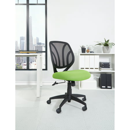 Screen Back Armless Task Chair with Green Mesh and Dual Wheel Carpet