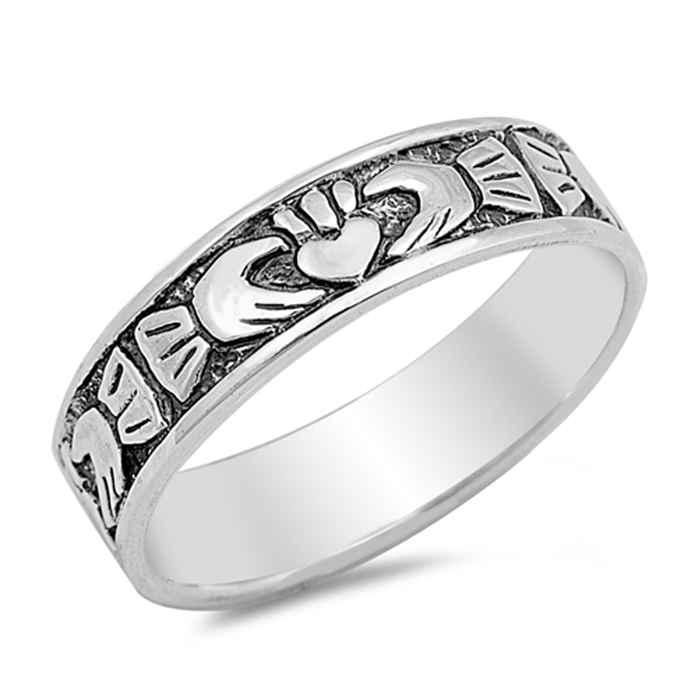 Claddagh Heart Friendship Wedding Ring ( Sizes 4 5 6 7 8 9 10 ) New .925 Sterling Silver Band Rings by Sac Silver (Size 4)