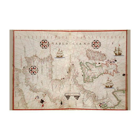 Map Of England France And Spain.Portolan Map Of Spain England Ireland France Print Unframed