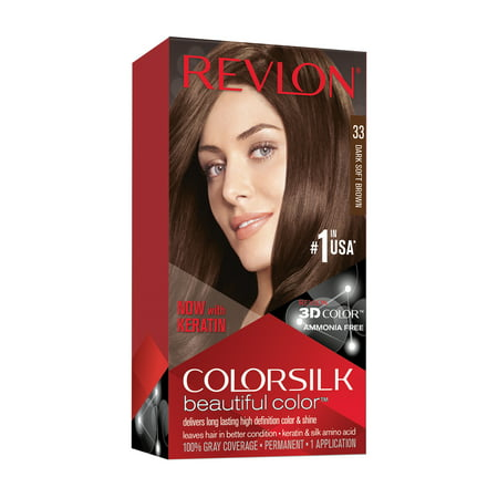 Revlon Colorsilk Beautiful Color, Permanent Hair Dye with Keratin, 100% Gray Coverage, Ammonia Free, 33 Dark Soft Brown