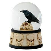 ytc 3.5 inch cold cast resin raven on skull water snow globe skull theme