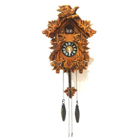 - ALEKO Handcrafted Wooden Cuckoo Wall Clock with Chirping Bird - 10.5 x 9 x 5 Inches - Brown
