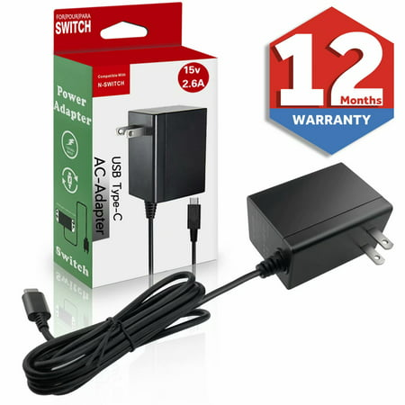 Switch Charger for Nintendo Switch,Switch AC Adapter Power Supply 15V 2.6A Wall Travel Charger with 5FT USB Type C Cable (Support TV Mode) 15v Ac 120w Ac Adapter