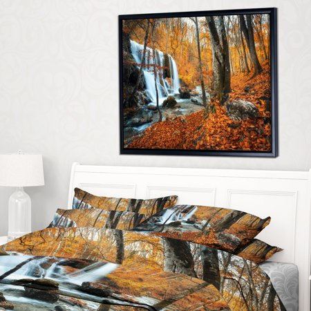 DESIGN ART Designart 'Autumn Mountain Waterfall Close View' Landscape Photography Framed Canvas Print