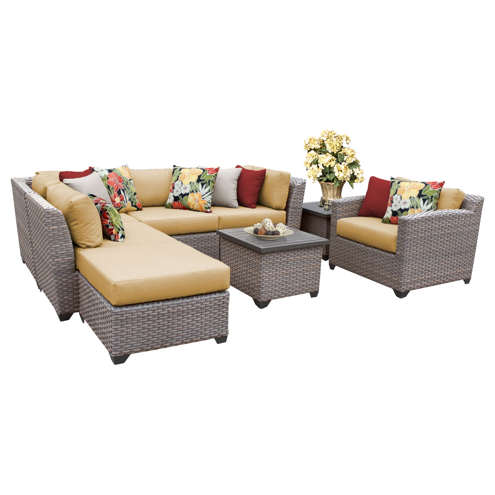 Catalina 8 Piece Outdoor Wicker Patio Furniture Set 08g by TK Classics