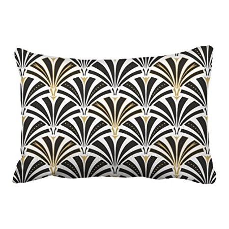 WinHome Retro Art Fashion Deco Fan Pattern Black And White Decorative Polyester 20 x 30 Inch Rectangle Throw Pillow Covers With Hidden Zipper Home Sofa Cushion Decorative - Art Deco Style Sofa