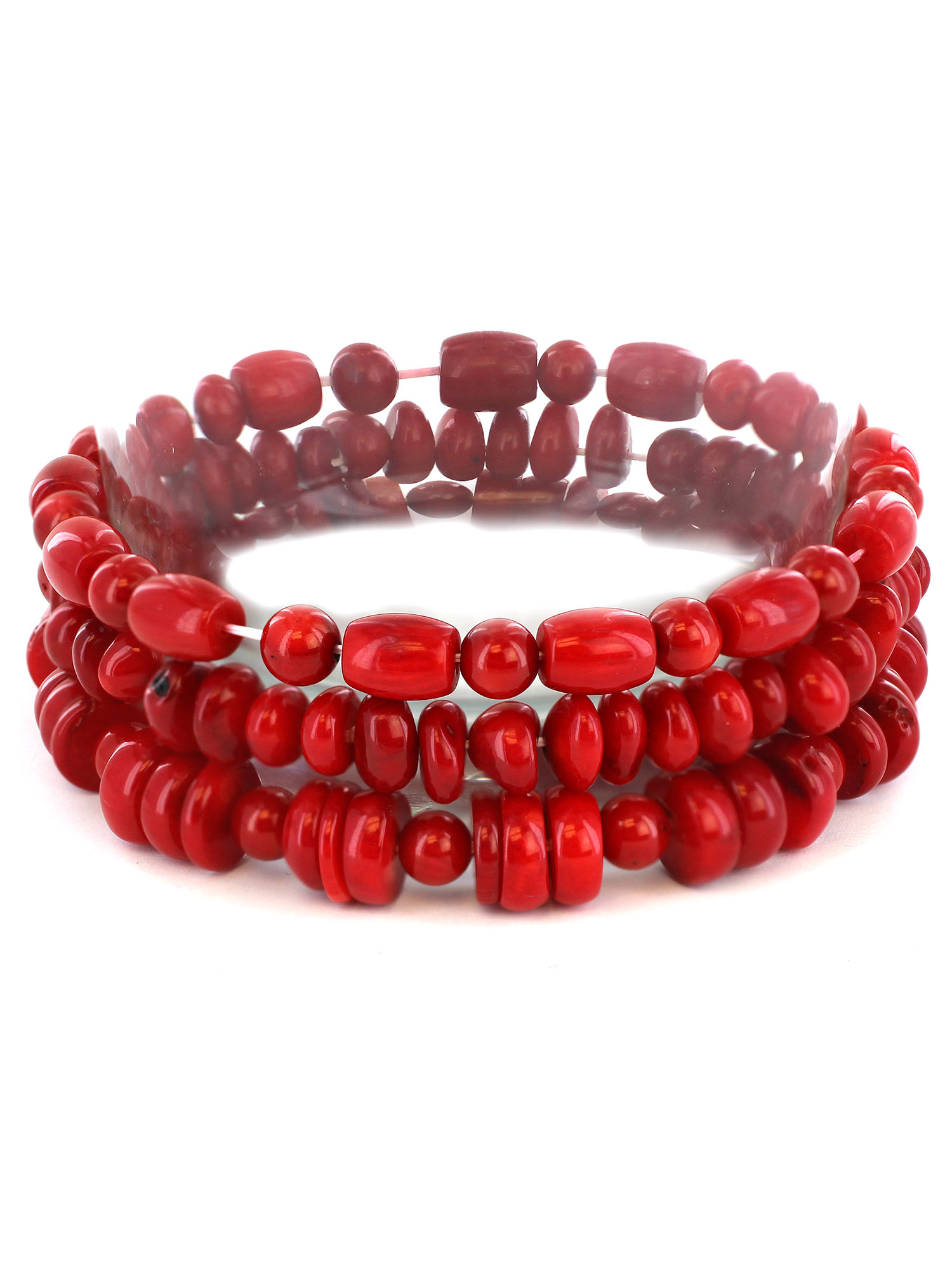 Women's Red Dyed Coral Bar and Barrel Beaded Bracelet (Set of 3)