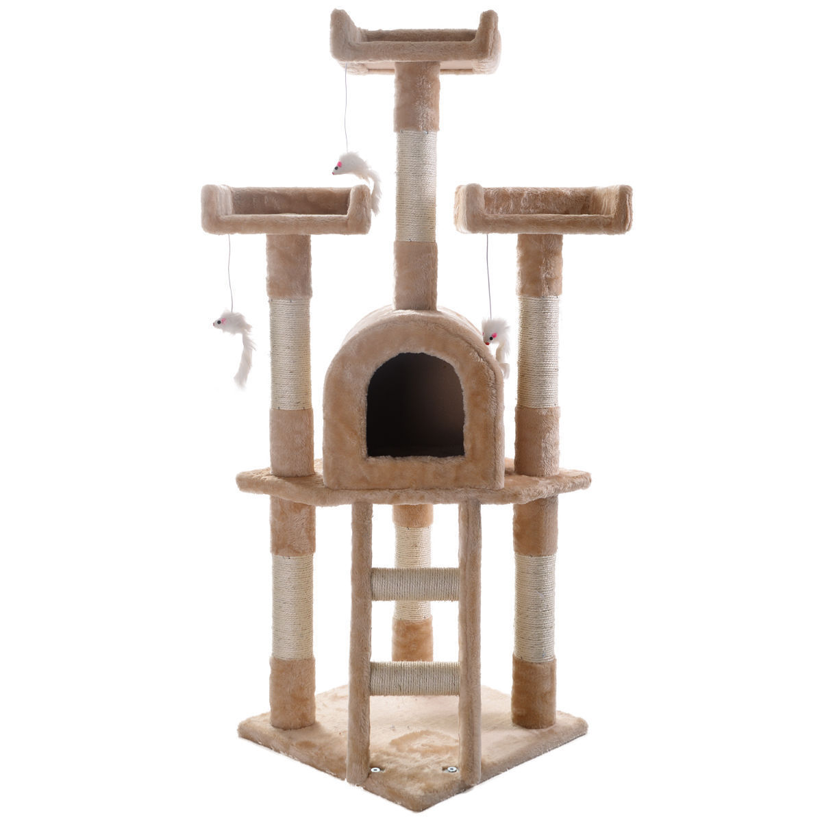cat tree play house gym tower condo scratch post rope basket swing beige