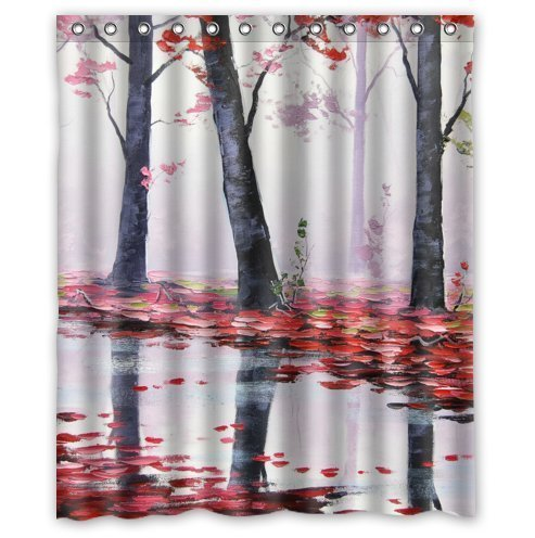 HelloDecor Itautumn trees red leaves river stall Shower Curtain Polyester Fabric Bathroom Decorative Curtain Size 60x72 Inches